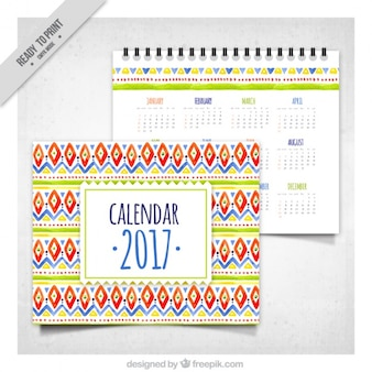 2017 calendar with ethnic watercolor shapes