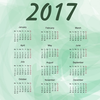 2017 calendar with green abstract background