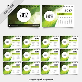2017 calendar with green geometric shapes