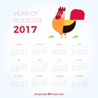 2017 calendar with rooster in flat design