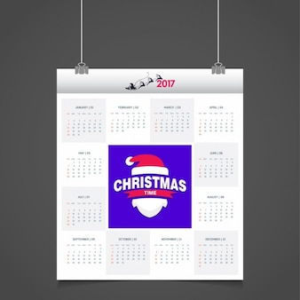 2017 calendar with santa claus hat