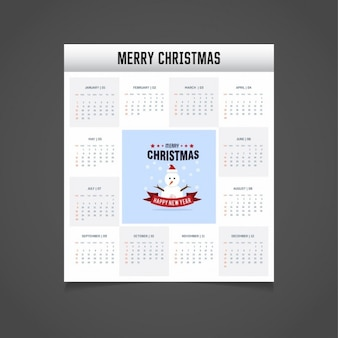 2017 christmas calendar with snowman