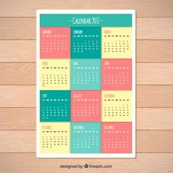 2017色のカレンダーテンプレート