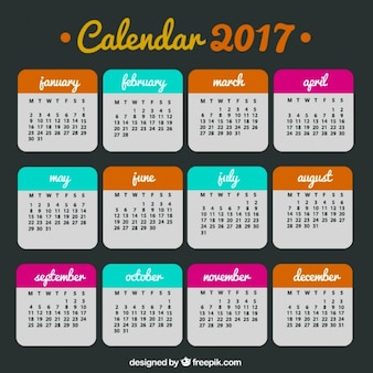 2017 colored calendar