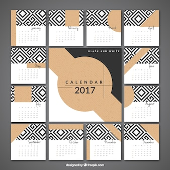 2017 elegant calendar of geometric shapes