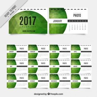 2017 зеленый геометрический календарь