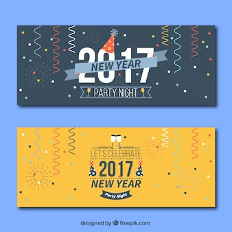 2017 new year banners with streamer