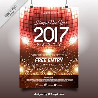 2017 new year poster with disco ball