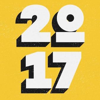 黄色の背景に2017