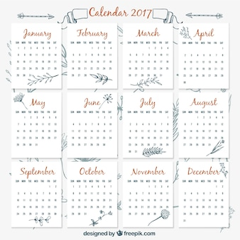 2017 vintage calendar template with hand drawn plants
