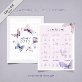 2017 watercolor calendar with butterflies