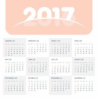 2017オレンジカレンダーテンプレート