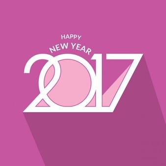 新しい年2017年のためのバイオレットのグリーティングカード