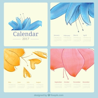 きれいな水彩画の花2017年カレンダー