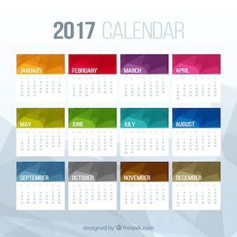 多角形の色付きのカレンダー2017