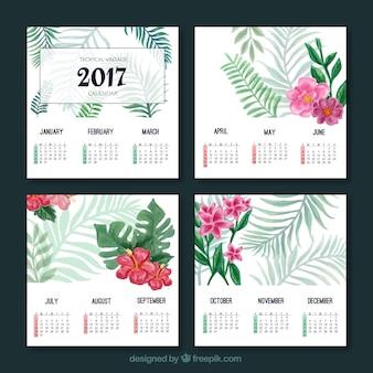 水彩トロピカル2017年カレンダー