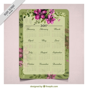プリティヴィンテージ水彩画の花2017年カレンダー