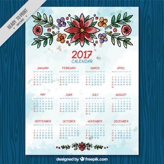 水彩画のスタイルで花と2017年カレンダー