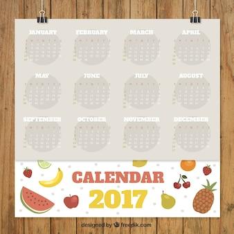 カラフルなフルーツとの相性抜群2017年カレンダー