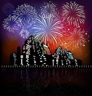 新しい年の花火2017休日の背景デザイン