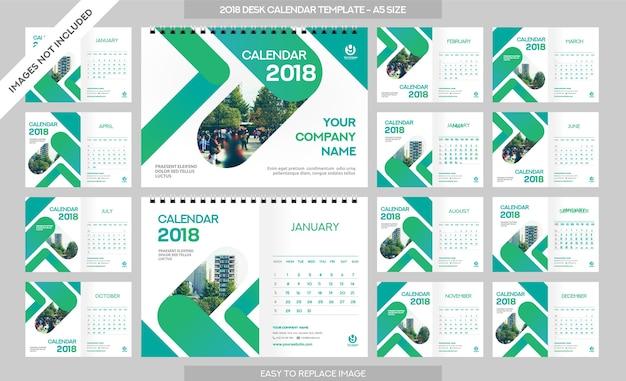 Настольный календарь 2018 шаблон - 12 месяцев включены - a5 размер