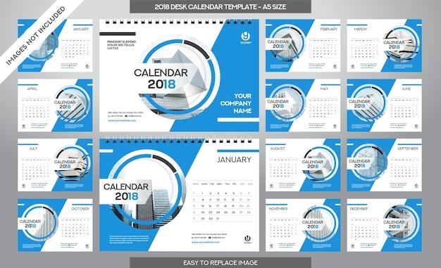デスクカレンダー2018テンプレート -  12ヶ月付属 -  a5サイズ - アートブラシテーマ