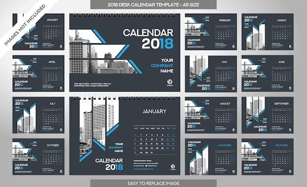 Настольный календарь 2018 шаблон - 12 месяцев включены