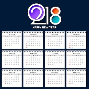 2018年のシンプルなカレンダー週は日曜日から始まります。創造的なカラフルな2018タイポグラフィの青い背景