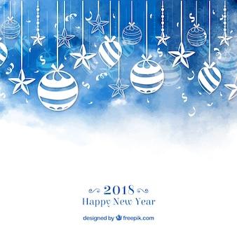 青い水彩の新年2018の背景とbaubles