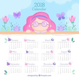 2018 calendar con bonita niña
