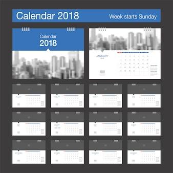 2018 calendar. desk calendar modern design template with place for photo