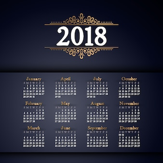 2018 calendar. it can be used for web or print.