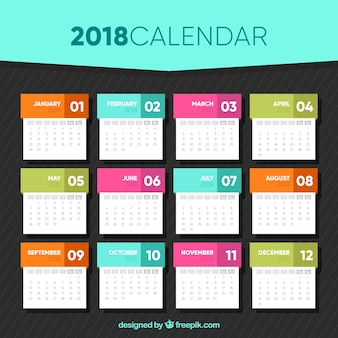 2018 calendar template in flat design