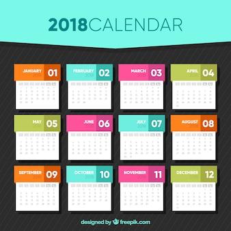 2018 calendar template in flat design