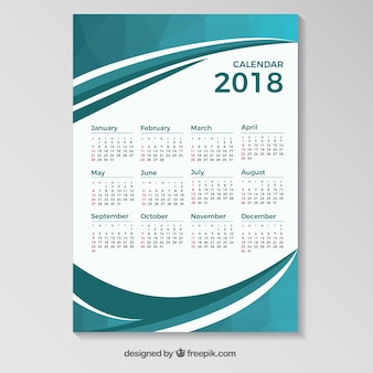 2018 calendar template with blue wavy shapes