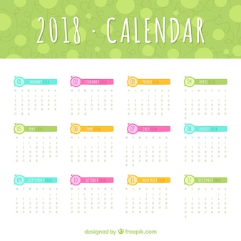 2018 calendar template with colored elements