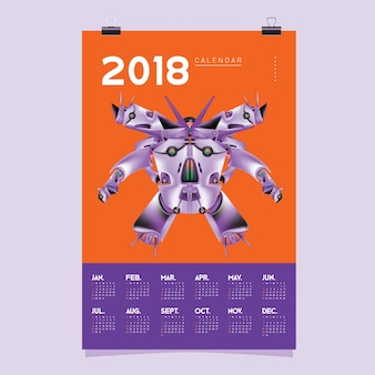 2018 Calendar Template with Robot Design Illustration