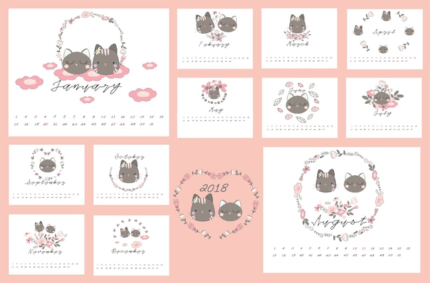 2018 calendar with cat and floral