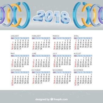 2018 del calendario con i cerchi