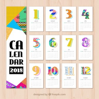 2018 calendar with colored geometric shapes