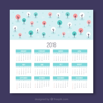 2018 calendar with colorful trees