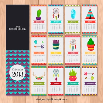 2018 calendar with decorative elements