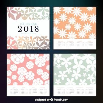 2018 calendar with floral decoration