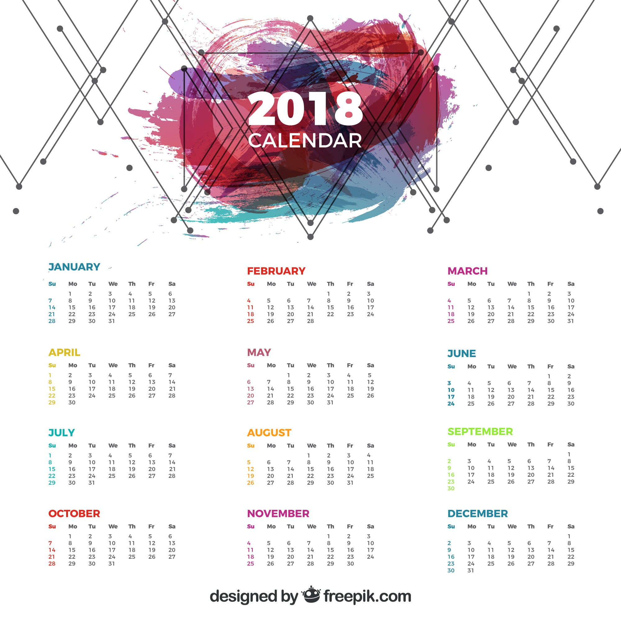 2018 calendar with geometric lines and colored stain