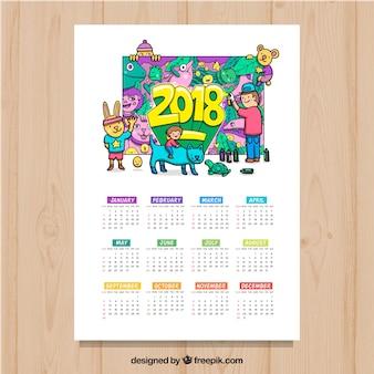 2018 calendar with graffiti