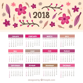 2018 calendar with hand-drawn flowers