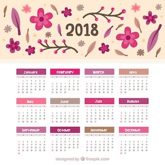 손으로 그린 꽃과 2018 달력