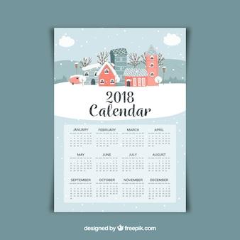 2018 calendar with landscape