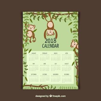 2018 calendar with monkeys