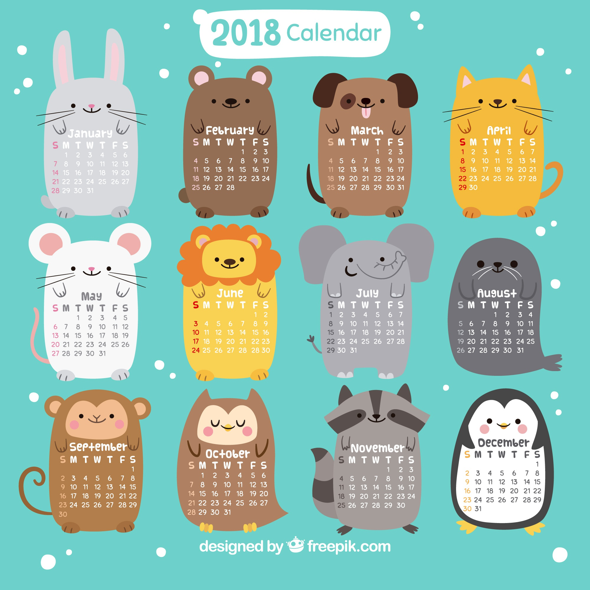 2018 calendar with nice animals